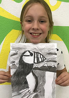 puffin charcoal kids drawing classes