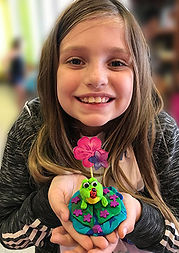 clay frog ladybug flower sculpture kids art lilypad pond sculpey clay