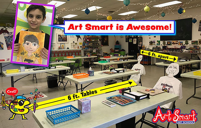social distance cartoon tables six foot feet art fun kids drawing painting clay sculpture classes lessons