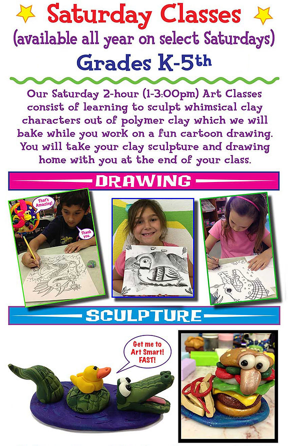 saturday kids art classes drawing clay sculpture