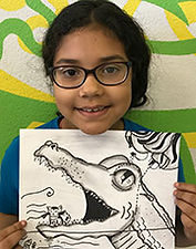 charcoal gator kids art drawing artsmart