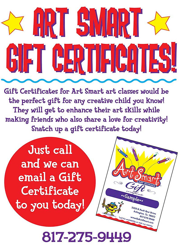 art smart gift certificates classes drawing painting clay sculpture kids art