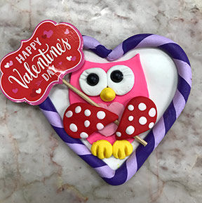 valentine clay owl kids art