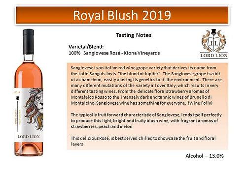 Tasting Notes - Royal Blush 2019 page 1.