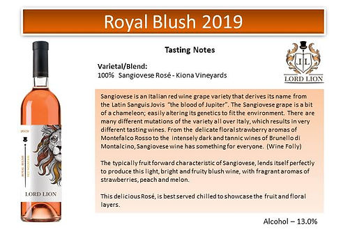 Tasting Notes - Royal Blush 2019 page 1.