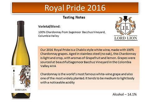 Tasting Notes - Royal Pride 2016 page 1.