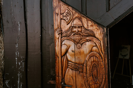 Traditional viking etched in wood at Viking Hall, Ingolfsskali set up for our wedding