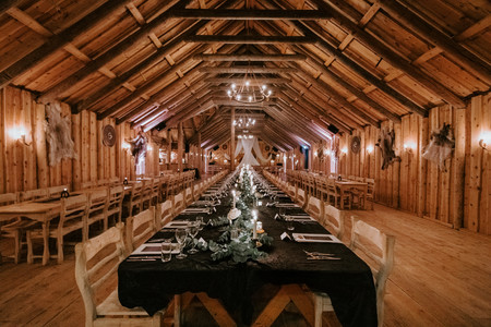Exposed wood architecture in actual Viking Hall, Ingolfsskali set up for our wedding
