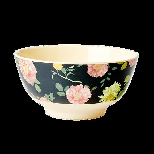 rice - Melamine Bowl - Dark Rose Print