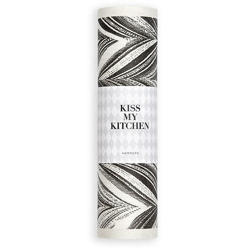 Kiss my Kitchen - Schwammtuch-Rolle, Feder white black