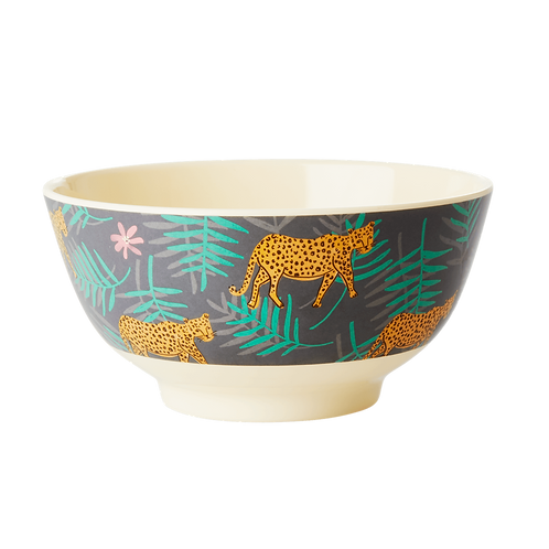 rice - Melamine Bowl - Leopard and Leaves Print