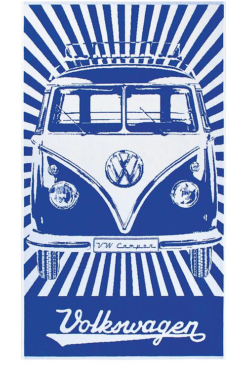 Vento - VW Bulli - VW T1 - Bus - großes Strandtuch - blau