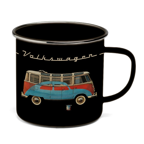 Vento - VW Bulli - VW T1 Bus - Emaille Tasse – schwarz
