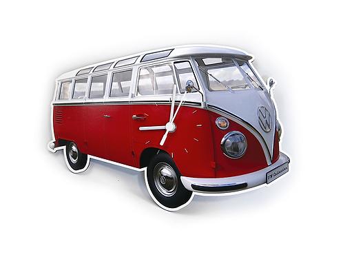 Vento - VW Bulli - VW T1 Bus - Samba Bus - Wanduhr - rot