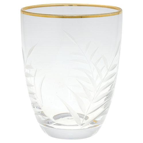 GreenGate - Gate Noir - Wasserglas mit Goldrand - mit Schliff