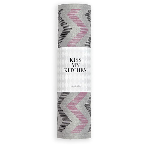 Kiss my Kitchen - Schwammtuch-Rolle, Zickzack grey black + pink