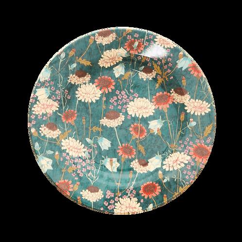 rice - Runder Melamin Teller - Fall Flower Print