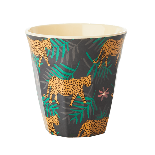 rice - Melamin Becher - Leopard and Leaves Print