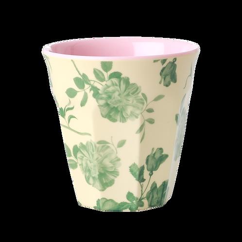 rice - Medium Melamin Becher - Green Rose Print