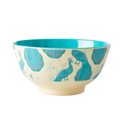 rice - Medium Melamin Bowl - Peacock Print