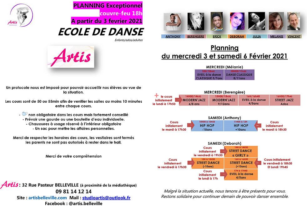 PLANNING 2020 2021 ARTIS cours du 3 au 6