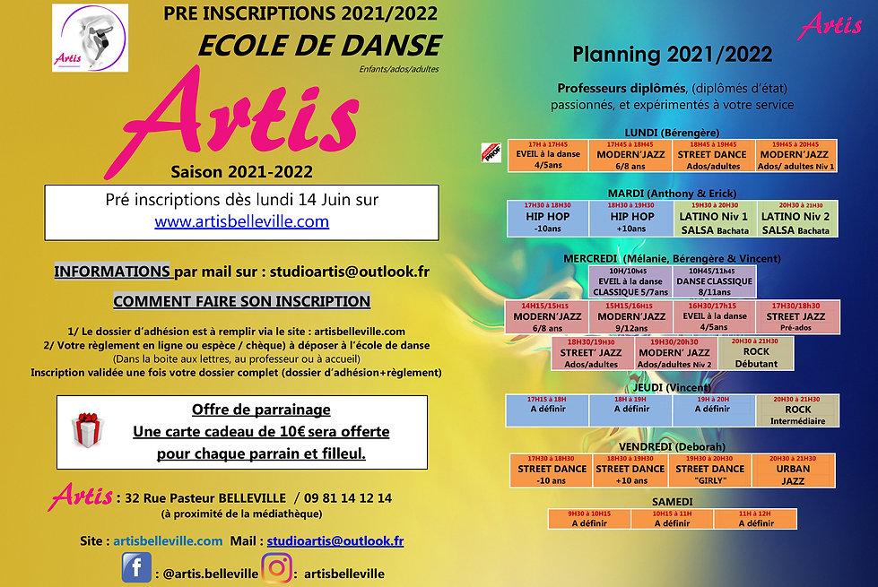 PLANNING Préinscriptions Ecole de danse