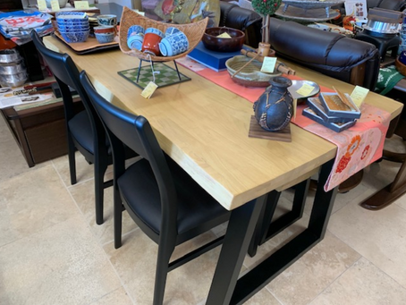 A dining table is now out on disply in the store!