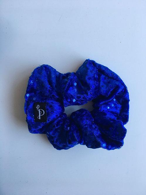 Chouchou Classique Velours Bleu Pailleté