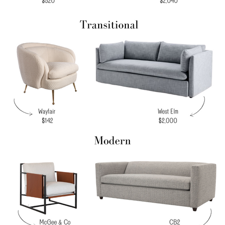 Sofa + Chair Pairings I Love in Four of My FAVORITE Design Styles!