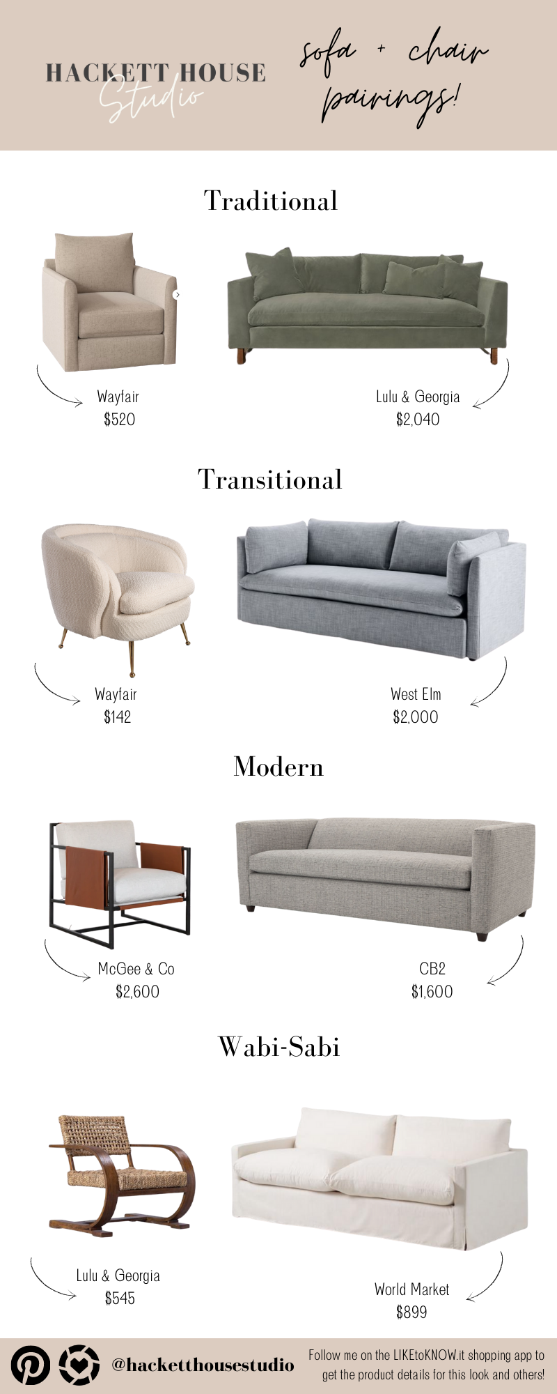 Sofas and chairs from McGee and Co, Lulu and Georgia, CB2 Wayfair and more.