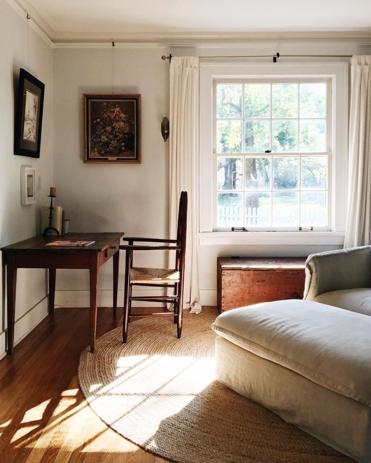 Small office inspiration from pinterest with antique desk and chair and vintage art