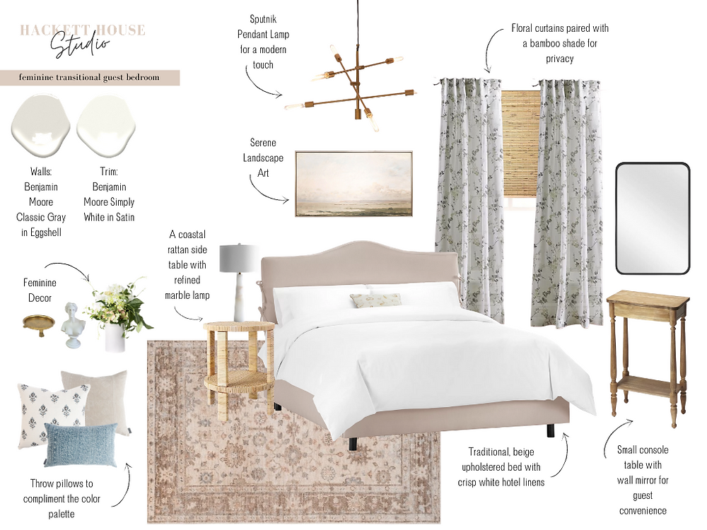 Sample e{design} of a feminine transitional bedroom featuring a blush hand-loomed rug, upholstered beige bed, rattan side table, McGee and Co Pillows, and more!