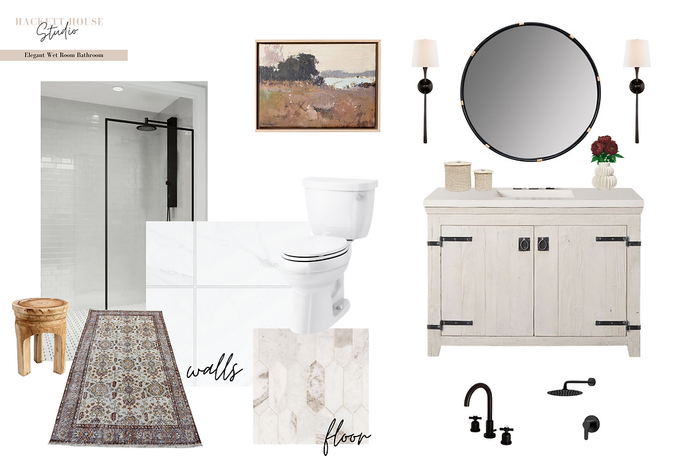 design of a modern elegant wet room bathroom with marble tile and a rustic detail vanity
