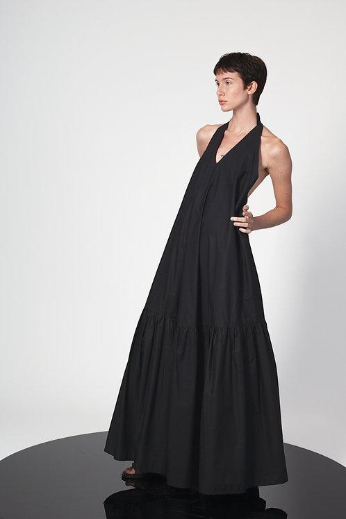 Halter neck ruffled dress