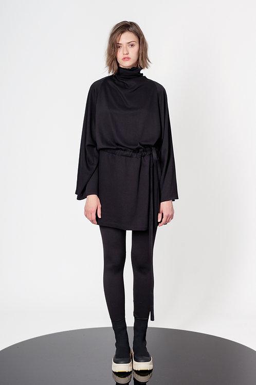 Draped neck raglan mini dress