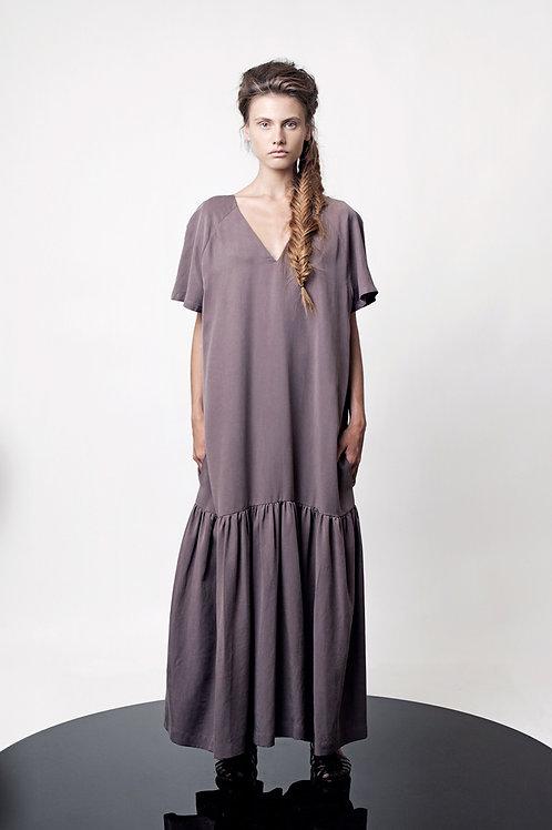 V neck box sleeve dress