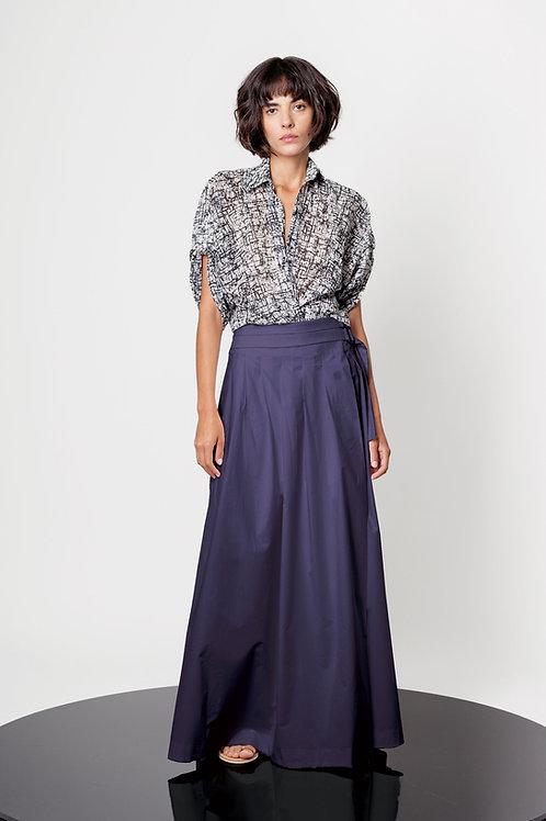 Maxi pleated wrap skirt