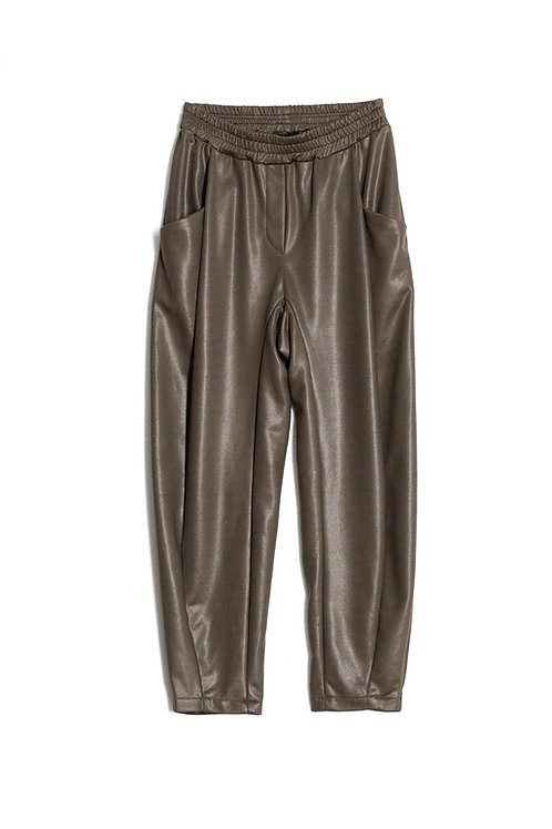 Coated Pleated Pegged Pants