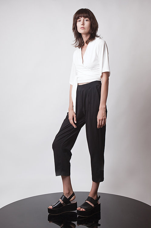 Pleated jersey pants