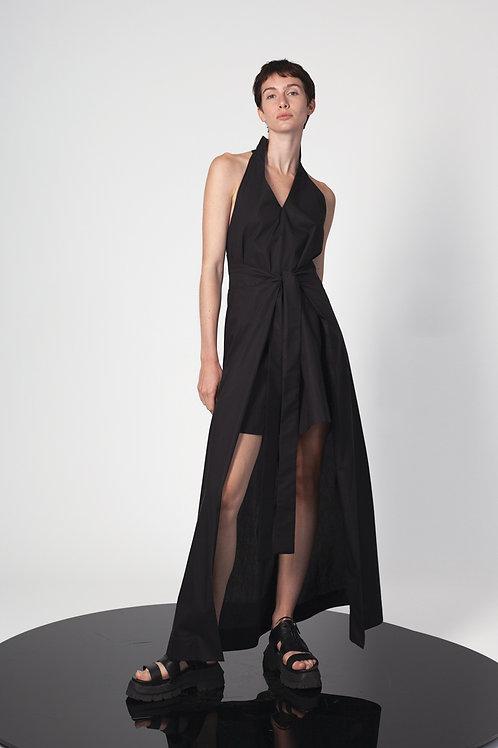 Halter mini dress with paneled skirt