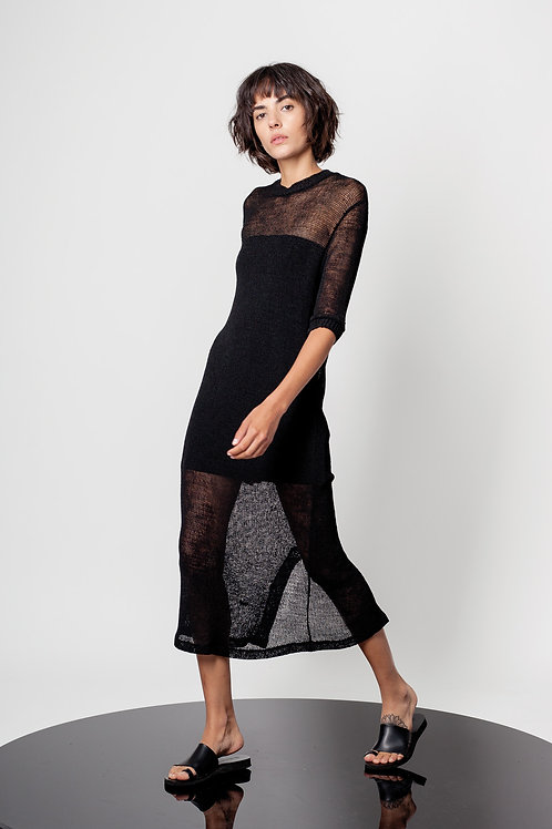 Round neck mesh dress