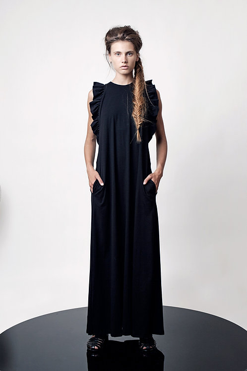 Ruffled boat neck dress