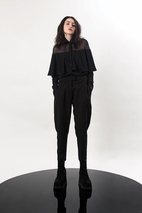 Paneled mesh shirt