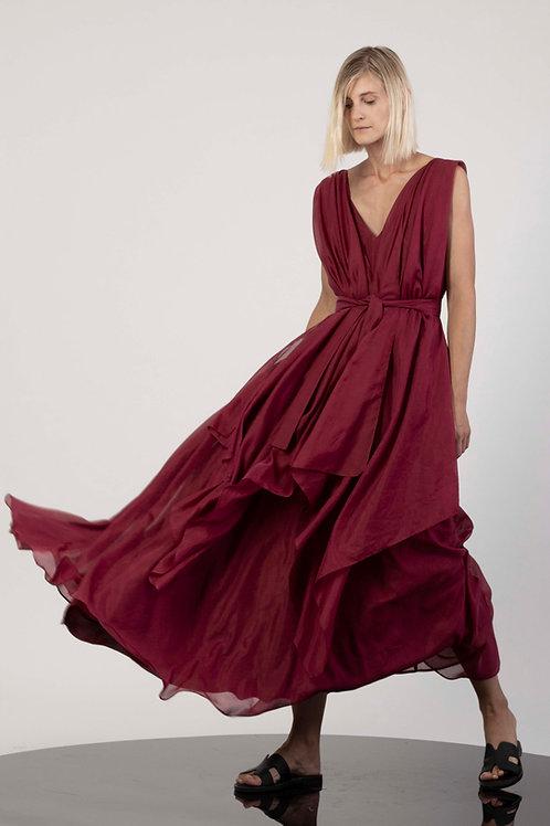 Paneled open back dress