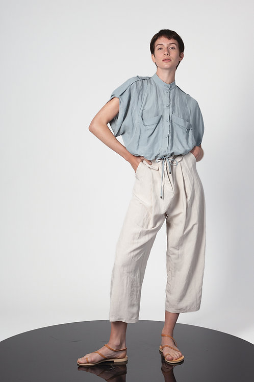 pleated low croch slouchy pants