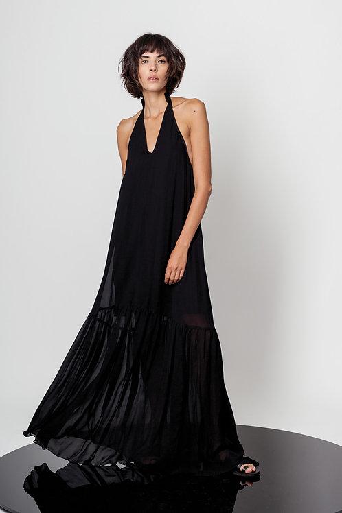 Open back ruffled dress