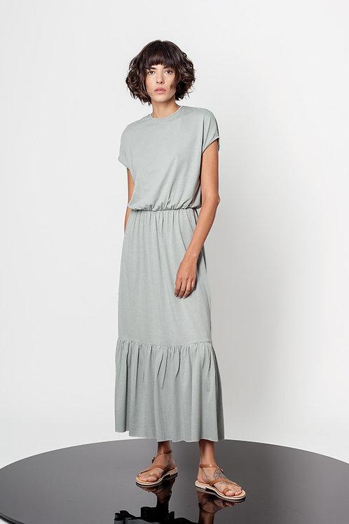 Round neck ruffle dress