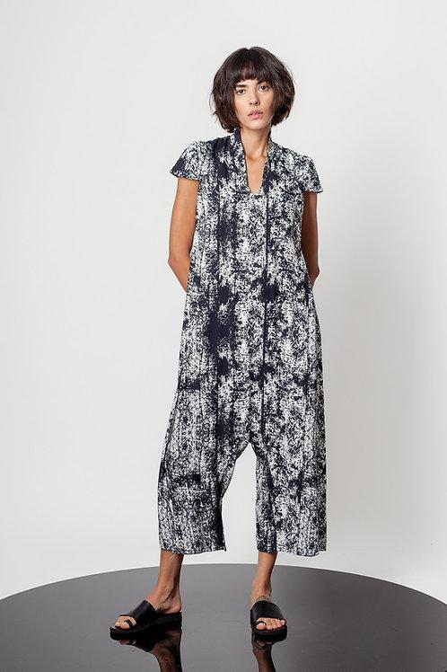 Elegant low crotch printed jumpsuit