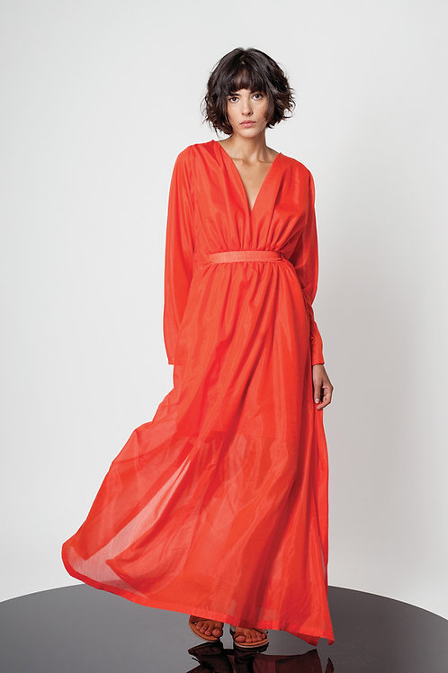 Loose trumpet sleeve dress