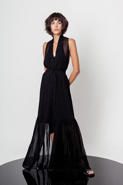 Maxi transparent ruffled dress